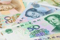 Chińczyka Juan banknoty dla pieniędzy pojęć, (Renminbi) Zdjęcie Stock