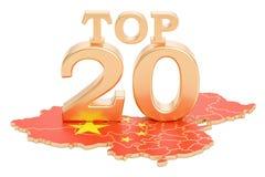 Chińczyka wierzchołka 20 pojęcie, 3D rendering Zdjęcia Stock