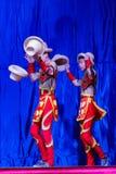 Chińscy akrobaci & tancerze blask księżyca lasu festiwal zdjęcia stock