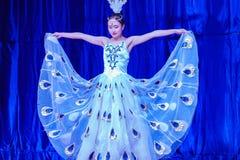 Chińscy akrobaci & tancerze blask księżyca lasu festiwal zdjęcia royalty free