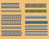 Chińscy bezszwowi liniowi ornamenty Obraz Stock