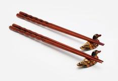 Chińscy drewniani chopsticks odizolowywający na bielu Fotografia Stock