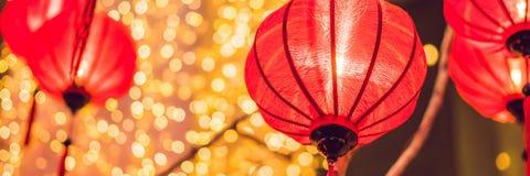 Chińscy lampiony podczas nowego roku festiwalu Wietnamski nowego roku sztandar, długi format fotografia stock