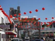 Chińscy lampiony wiesza w sercu Port Louis, Mauritius przy Królewską drogą obraz royalty free