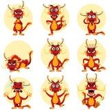 Chińscy smok maskotki Emoticons Ustawiający Obrazy Stock