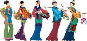 chińscy sprzedawcy royalty ilustracja