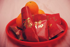 Chińska Ślubna Czerwona Kopertowa pomarańcze Zdjęcie Stock