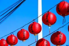 Chińska świątynna tradycyjna dekoracja, czerwony orientalny lampion Obrazy Stock