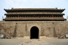 Chińska antycznego miasta ściana i brama w Xian mieście Obrazy Stock