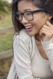 Chińska Azjatycka kobieta Jest ubranym szkła Fotografia Royalty Free