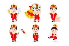 Chińska chłopiec, zaludnia ślicznej charakter kreskówki maskotki, Chińskiego nowego roku, lwa tana, petardy, kung fu, świni i aer ilustracji