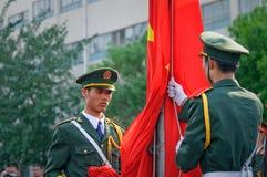Chińska flaga państowowa ceremonia obraz stock