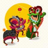 Chińska Księżycowa nowego roku lwa tana walka Zdjęcia Royalty Free