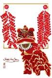 Chińska lew petardy rama royalty ilustracja