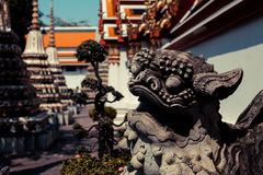 Chińska lew statua, świątynia i Zdjęcie Stock