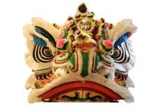 Chińska lwa tana głowy maska odizolowywająca na białym tle, żółty Chiński styl obraz stock