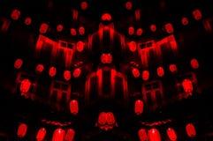 Chińska noc: czerwony lampionu szaleństwo dla nowego roku ` s obraz stock