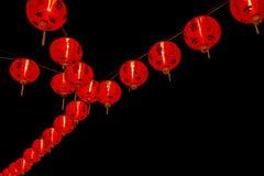 Chińska nowy rok dekoracja--Czerwoni lampiony na błyskotliwości, bokeh zdjęcia royalty free