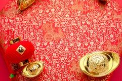 Chińska nowy rok dekoracja, zamyka w górę złotego ingots ang pow Zdjęcia Stock