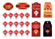 Chińska nowy rok sprzedaży etykietka i etykietka Obrazy Royalty Free