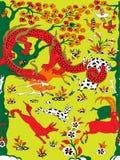 Chińska smok pomarańczowej czerwieni ornamentu wektoru mozaika royalty ilustracja