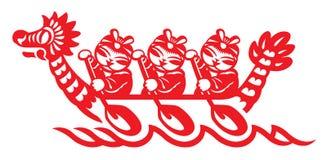 Chińska sztuka smok łódź Zdjęcie Royalty Free