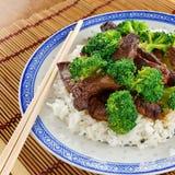 Chińska wołowina i brokuły na ryż Zdjęcie Stock