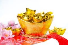 Chińska złocista ingots dekoracja Obraz Stock