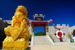Chińska złota lew statua Obrazy Royalty Free