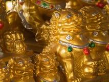 Chińska złota lew statua Zdjęcie Stock