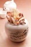 Chińska ziołowa herbata z wysuszoną pieczarką i lekami w białym garnku zdjęcia royalty free
