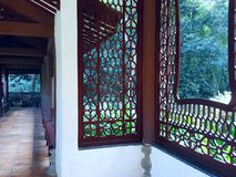 Chiński antyczny drewniany kratownicy okno zdjęcie royalty free