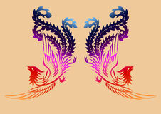 Chiński antyczny feniksa wzór Zdjęcia Royalty Free