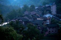Chiński antyczny miasteczko przy nocą Obraz Royalty Free