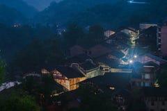Chiński antyczny miasteczko przy nocą Fotografia Royalty Free