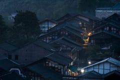 Chiński antyczny miasteczko przy nocą Zdjęcia Stock