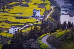 Chiński antyczny stary dolina domu przegląd w górze z drogą w Anhui i mostem, Chiny zdjęcia royalty free
