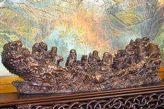 Chiński antyk i tradycyjny drewniany cyzelowanie obrazy royalty free
