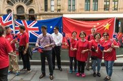 Chiński australijczyka powitanie najważniejszy Li Keqiang, Sydney Australia Zdjęcie Royalty Free