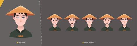 Chiński azian mężczyzny charakter - set emocje ilustracji