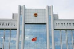 chiński budynek flagę Obrazy Royalty Free