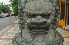 Chiński cesarski lew w Chińskim okręgu Santo Domingo republika dominikańska zdjęcie royalty free