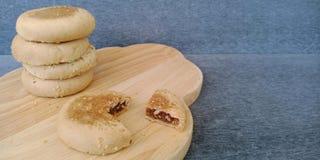 Chiński ciasto: fasola tort z słodkim bobowym plombowaniem zdjęcie stock