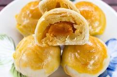 Chiński ciasto tort robić od mąki, fasoli, jajka i cukieru, na małym Obrazy Stock