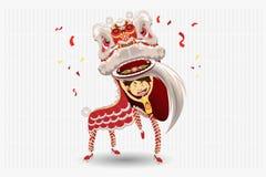 chiński dancingowy lew ilustracji