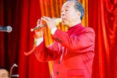 Chiński dyrygent bawić się tradycyjnego nastrojonego sola zdjęcia royalty free