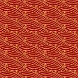 Chiński etniczny bezszwowy wzór Orientalny rocznika tło, czerwona złota morze fala Fotografia Stock