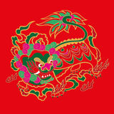 Chiński hafciarski lwa wzór royalty ilustracja