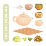 Chiński herbata set, odizolowywający na bielu ilustracji