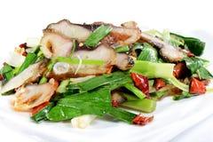Chiński jedzenie: Smażący rybi plasterki Obraz Stock
